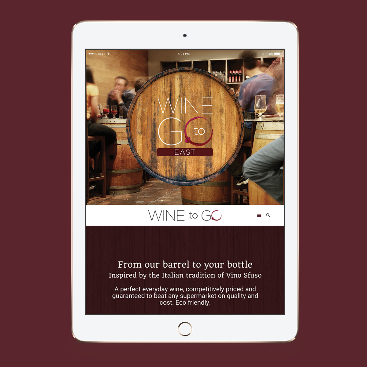 Promoworx - Wine to Go iPad Website