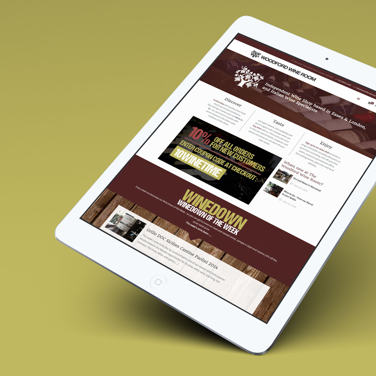 Woodford Wine Room - iPad Home Mockup